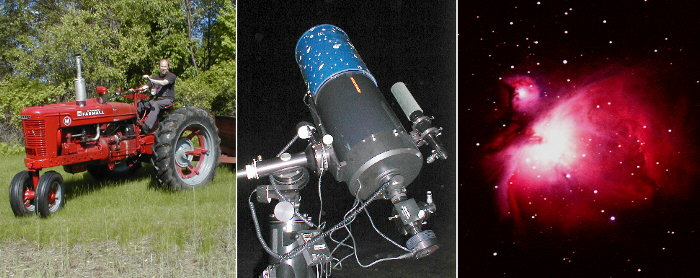 1949 Farmall M, Celestron CG-11 scope, and photo of M42 taken with the telescope.